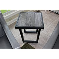 The Barnwood Furniture Co. Authentic Barn Wood & Steel U Leg End Table (Mill Finish Dark Grey Steel)