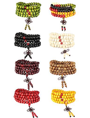Besteel 8 PCS Mens Womens Wood Necklace Chain Bracelets 108 Buddhist Strand Wood Prayer Beads Sandalwood Link (Strand Chain Link)
