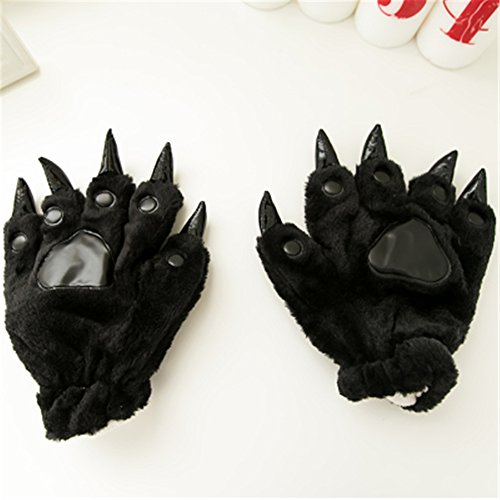 Colorful Color Halloween Theme Glove Paws Furry Realistic Sharp Claws Tiger Cat Fox Dinosaur Cosplay (Black)