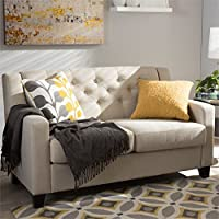Baxton Studio Arcadia Upholstered Loveseat in Light Beige