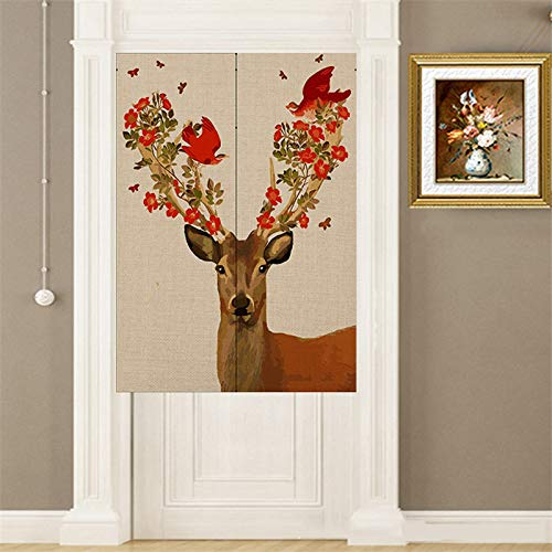 Wall of Dragon 85x120cm Cotton Linen Deer Series Decorative Door Curtain Noren Doorway Room Divider For Bedroom Kitchen Christmas Home Decor