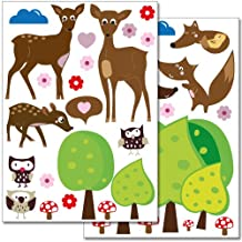 Wandkings wall stickers Cute Forest Animals Sticker Set – more than 35 stickers on 2 US letter sheets (each 8.3 x 11.7 inch)