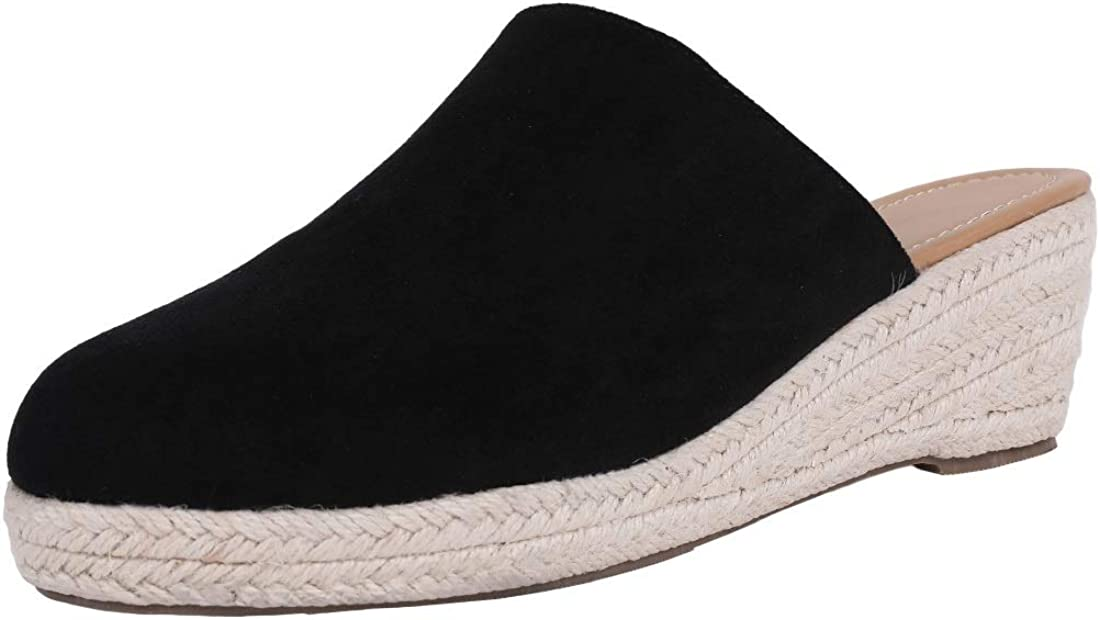 Ermonn Womens Espadrilles Wedges Mule Shoes Platform Closed Toe Slip on Backless Slides Sandals