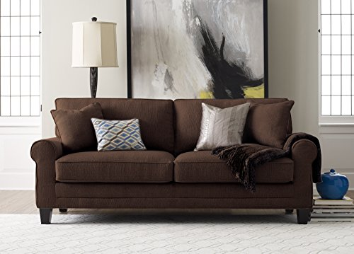 "Truly Home UPH100034 Whitney Sofa 73"" in Windsor Brown - Bring full size comfort into any size space Sink into deep, comfortable modern seating Upgraded single platform base for extra strength and durability - sofas-couches, living-room-furniture, living-room - 51JCDmhevsL -"