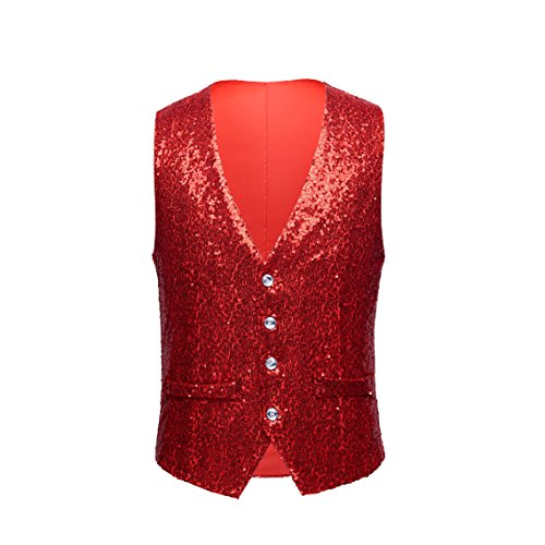Mens Fashion Sequins Waistcoat Vest Singer Shiny Costume (42, red)