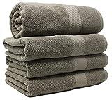 Bath Towels Set 4-Piece - %100 Cotton - Bath Towels for Bathroom, Bath, Gym, Pool, Tub- Premium Quality Bath Towels, Soft, Thick, Absorbent Towels, 27x54 inch (Taupe, Bath Towel - Set of 4)