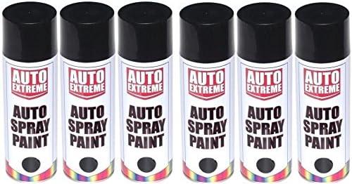 6 x 500 ml Negro brillante spray de pintura aerosol Auto Extreme ...