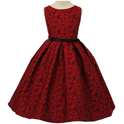Big Girls Beautiful Floral Jacquard Pleated Skirt Dress Red - Size 12