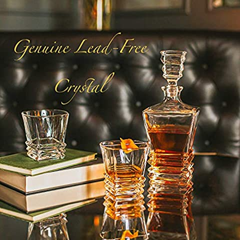 Premium Art Deco Whiskey Decanter Set. 27oz Scotch Whisky Decanter For Men In Stunning Gift Box. Genuine Lead Free…