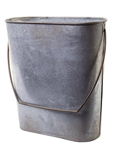 (Farm Cottage Farmhouse Galvanized Tin Storage Organization Hanging Bucket Basket Pocket Holder Container with Handle, for Kitchen, Bath, Indoor Outdoor Antique Vintage Primitive Style Decor)