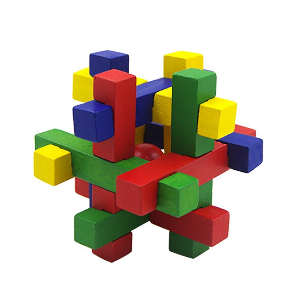 Naisidier 木製パズルゲーム Jiasaws ミステリアスキューブトイ Kongming Lock Brain Teasers IQ おもちゃギフト 子供用 大人用 赤ボール   B07HF29M76