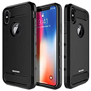 MASCHERI For iPhone X Case [Carbon Fiber Design] Shock Absorption Protective Dual Layer Military-Grade Defender Hybrid Case Cover for Apple iPhone X - Black