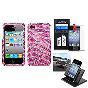 eForCity Film + Holder + Zebra Skin (Pink/Hot Pink) Diamante Case Cover compatible with Apple iPhone 4S/4