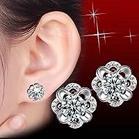 phitak shop Women Square Silver Elegant Crystal Rhinestone Ear Stud Earrings Jewelry Bridal