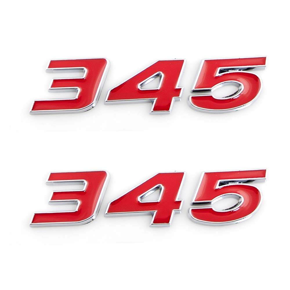 CARRUN 2Pcs 345 Emblems 3D Nameplate Premium Car Badge Decal Replatement For Challenger Chrysle 300c Red