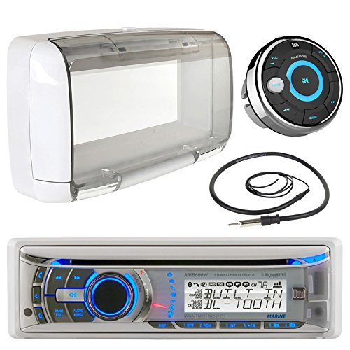 Dual Electronics AMB600W Marine Boat Bluetooth CD/MP3 Stereo Receiver Bundle Combo With MWR15 Waterproof Wired Remote Control + (Dual Marine Radios For Boats)