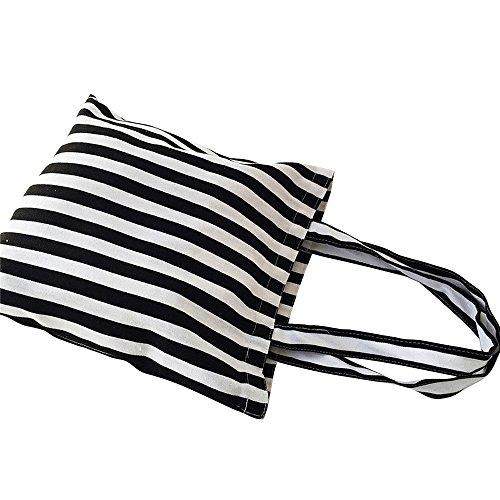 Flowertree Women's Cute Animal Print Canvas Tote Bag (506-Black white stripe/Zip)