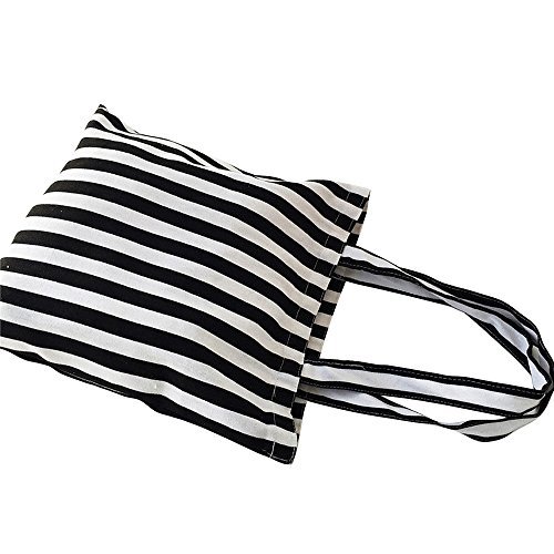 Flowertree Women's Cute Animal Print Canvas Tote Bag (506-Black white stripe/Zip) ()