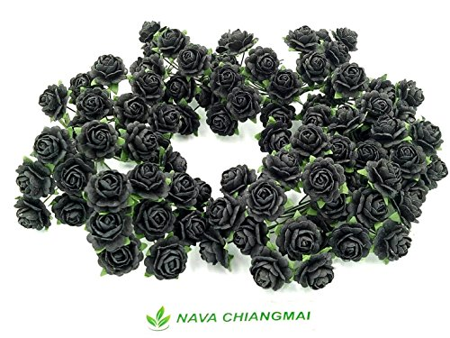 NAVA CHIANGMAI Beautiful Artificial Mulberry Paper Rose Flower (Heart Petals Rose) Wedding Card Embellishment, Scrapbooking Wedding Doll House Supplies Card,DIY Flower Accessories. (Black)