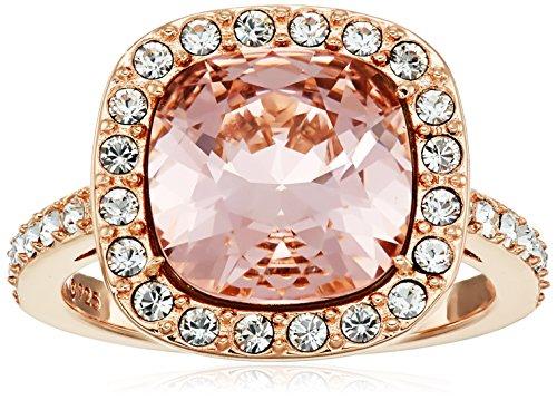 Rose Gold Plated Sterling Silver Swarovski Elements Crystal Morganite Cushion-Cut Halo Ring Size 7 (Swarovski Elements Ring compare prices)