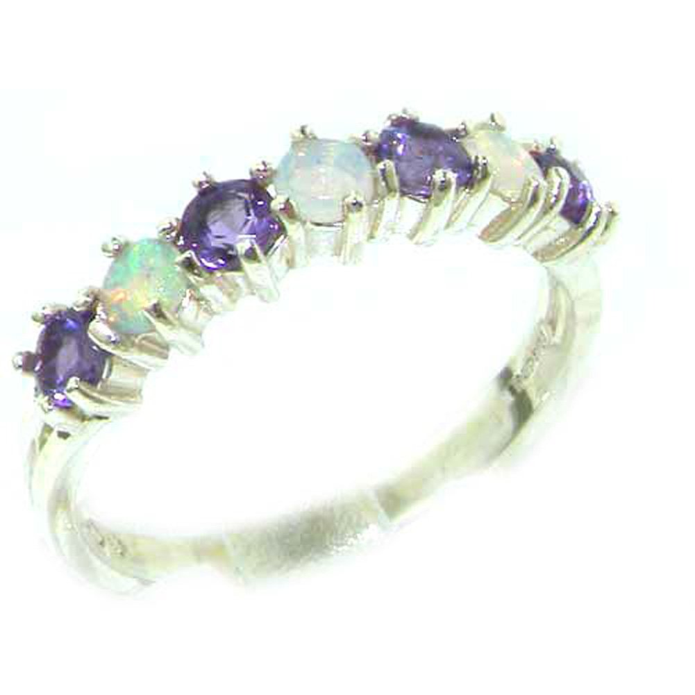 925 Sterling Silver Real Genuine Opal & Amethyst Womans Eternity Engagement Ring - Size 6