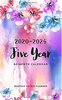 Appointment Notebook with Glitter marble cover Agenda Planner For The Next Five Years 60 Months Calendar 5 Year Planner 2020-2024: Pocket Monthly Schedule Organizer