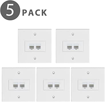 Tnp Ethernet Network Rj45 Faceplate Faceplate Wall Plate Dual 2 Port Rj45 Cat6 Cat5e Cat5 Connector Socket Wiring Plug Jack Decorative Face Cover Outlet Mount Panel Female To Female 5 Pack
