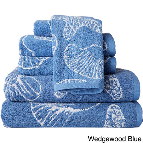 (6 Piece Blue Beach Themed Towel Set, Wedgewood Jacquard Sea Shell Pattern Starfish Nautical Ocean Coastal Soft Light Beaches Bath Towels Shower Bathtub, Cotton)