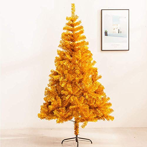 NMBC Metal Base Christmas Tree,Tinsel Christmas Trees with Stand Easy to Assemble Indoor and Outside Decoration Christmas Tree dismantling and,Gold,150cm (Gold Optischen)