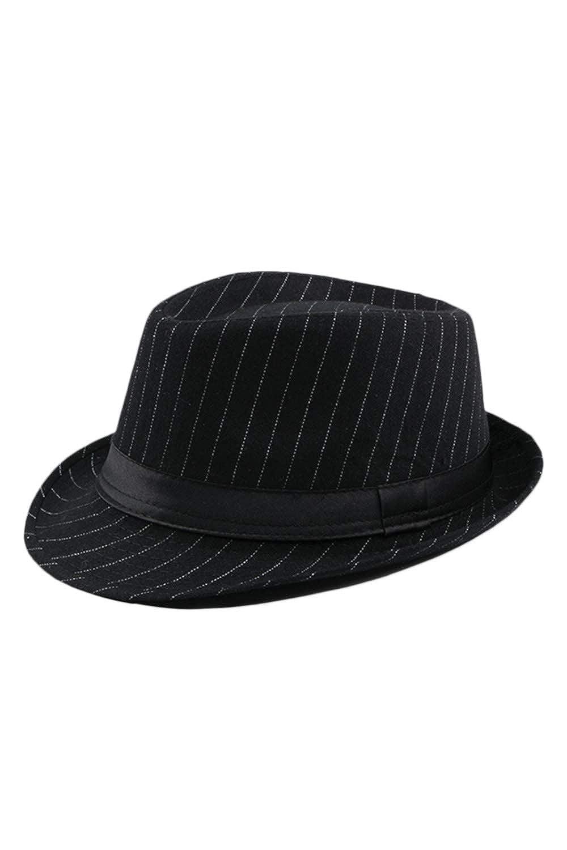 Jomuhoy Men Boys Stripes Vintage Cap Lightweight Thermal Fedora Jazz Hat CAJOM754-Black-F