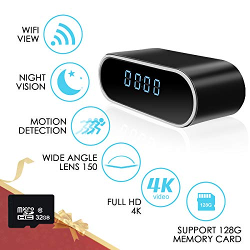 WiFi Alarm Clock Camera HD 1080P Clock Camera Wireless Nanny Security Cam Mini Record Video with Motion Detection, Night Vision, 140° Wide Angle View