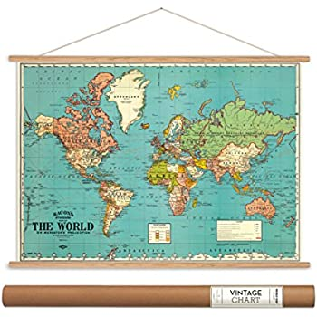 Amazon bacons standard map of the world vintage 18x275 cavallini papers bacons world map vintage style decorative poster hanger kit 28 x 20 gumiabroncs Image collections