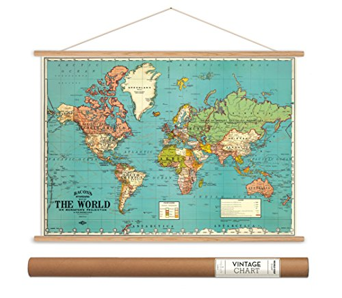 World Old Map Poster (Cavallini Papers Bacon's World Map Vintage Style Decorative Poster & Hanger Kit, 28