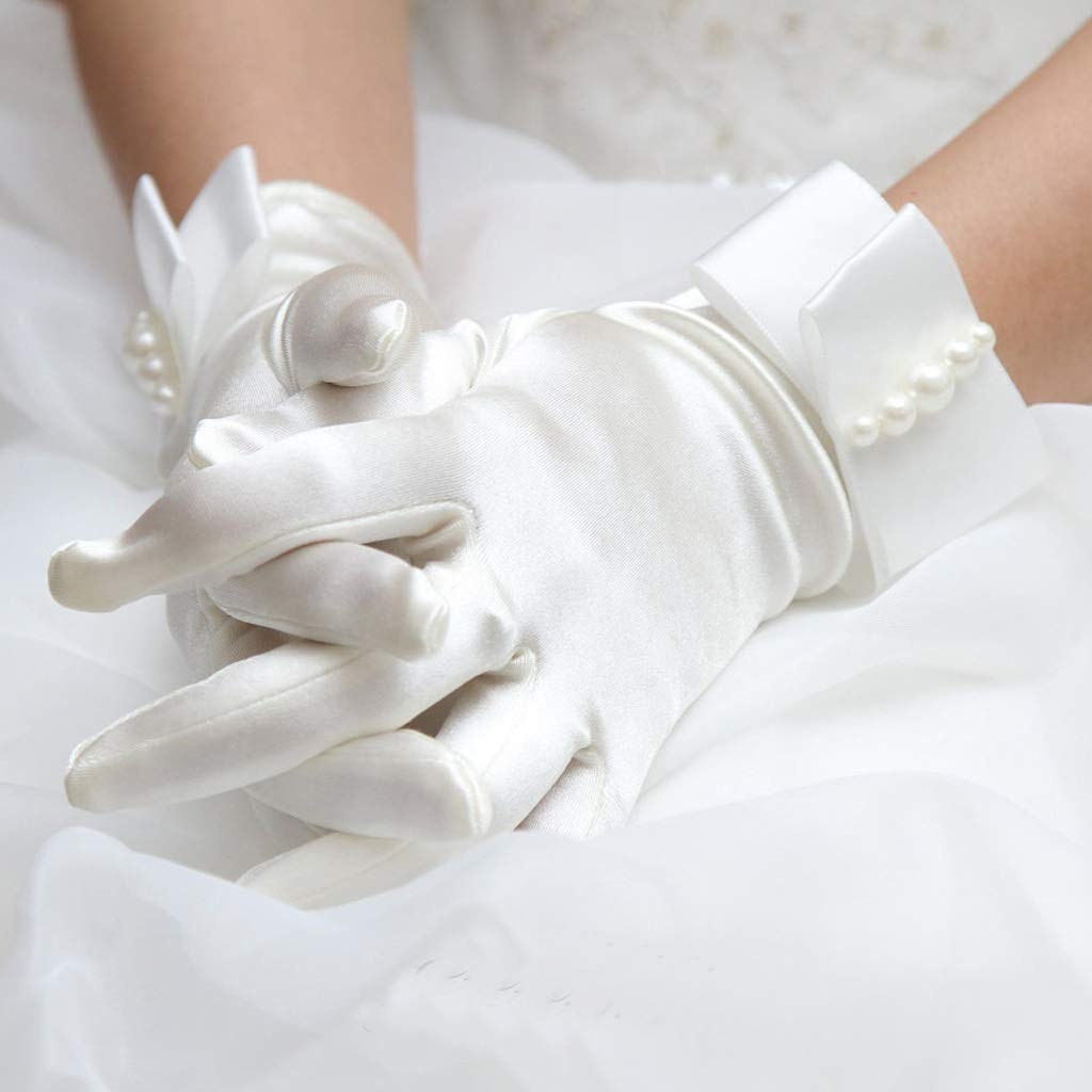 Wedding Gloves, Dabixx Womens Short Full Fingers Faux Pearl Beaded Bridal Wedding Gloves with Bow Satin