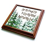 3dRose trv_252963_1 Watercolor Forest Trivet with Tile, 8 by 8''