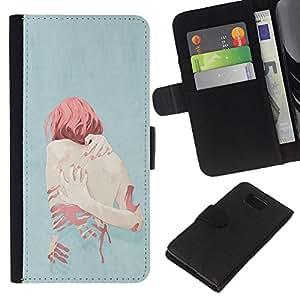A-type (Ginger Depression Heartbreak Sad) Colorida Impresión Funda Cuero Monedero Caja Bolsa Cubierta Caja Piel Card Slots Para Samsung ALPHA G850