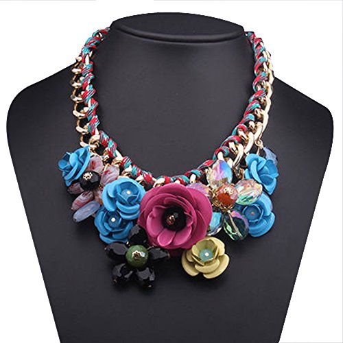 CharmsStory Vintage Colorful Statement Necklace
