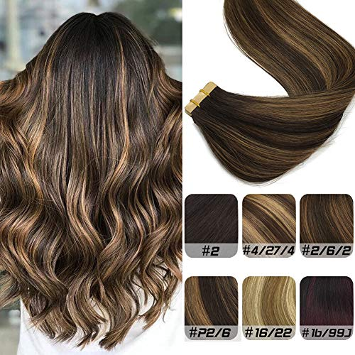 Labhair Tape in Hair Extensions Human Hair Balayage Seamless Remy Tape in Extension Highlighted color #2 Dark Brown Mixed Light Brown Human Hair Extensions 18inch 20pcs 50g (Medium Length Brown Hair With Caramel Highlights)
