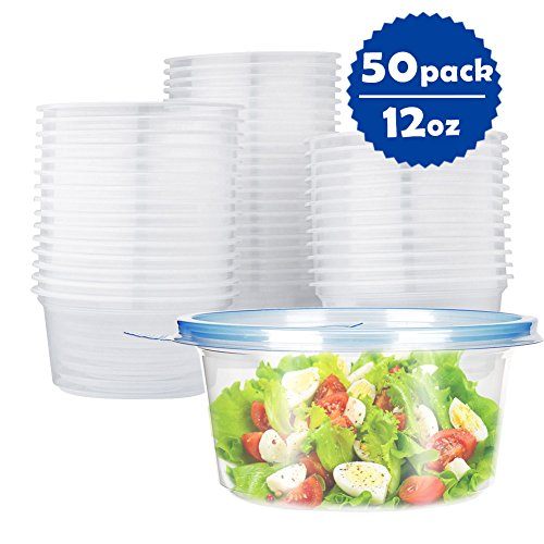 OTOR 50-Pack 12oz Foodsaver Plastic Food Storage Containers with Lids - BPA-Free Reusable, Microwavable, Meal Prep Bowls Disposable for Salad Fruit Dessert