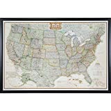 Craig Frames Wayfarer, Executive United States Push Pin Travel Map, Gallery Black frame and Pins, 24 by 36-Inch