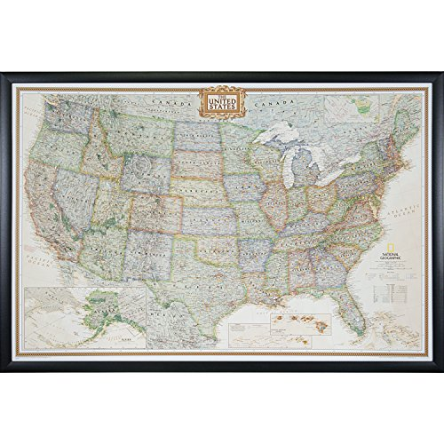 Craig Frames Wayfarer, Executive United States Push Pin Travel Map, Gallery Black frame and Pins, 24 by 36-Inch (Framed Us Map)