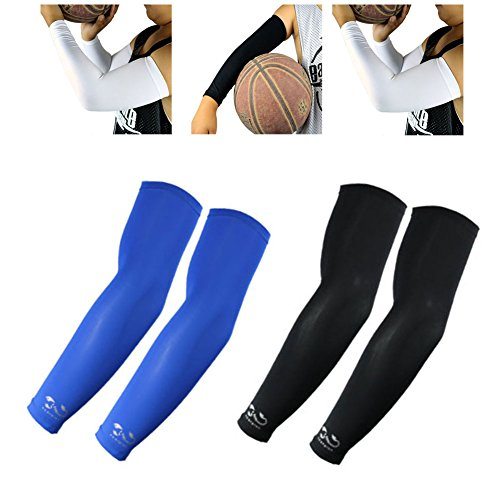 Scorpion Sports Apparel Compression Arm Sleeves (2 Pairs) - Kids, Youth - Basketball Shooter Football Baseball Cycling Volleyball, Blue, Black by Scorpion