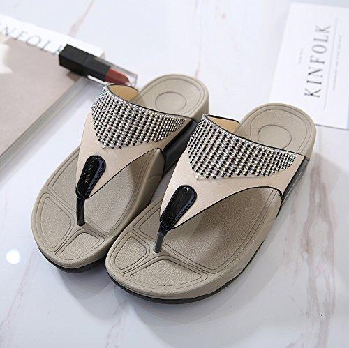 Lanciare Beauty 4 Ciabatte Tacco Slittata Flip Leader Morbido Spesso Donna flop Black Pantofola Centimetri Nvxie Strass 7xwaRnqfR