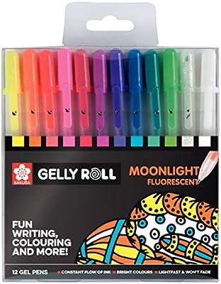 Sakura POXPGBMOO12 - Pack de 12 bolígrafos fluorescentes de gel, Multicolor: Amazon.es: Oficina y papelería