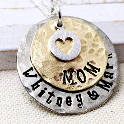 Personalized Hammered Rustic Style Sterling Silver and Gold Tone Mom Necklace - Mothers Gift ()