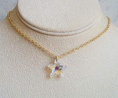 Aurora Borealis Starfish Pendant 18 Inch Necklace Made With Swarovski Crystal Gift Idea LG