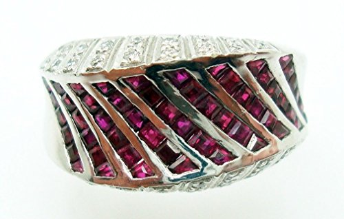 0.17 Ct Diamond (18K Gold Ring Band with 1.38ct Total Genuine Rubies & .17ct Total Diamonds #2820)