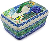 Polish Pottery 5½-inch Butter Dish made by Ceramika Artystyczna (Butterfly Garden Theme) Signature UNIKAT + Certificate of Authenticity