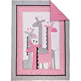 UK 4 Piece Pink Grey Girls Baby Giraffe Crib Bedding Set, Newborn Animal Themed Nursery Bed Set Infant Child Jungle Africa Safari Blanket Comforter Triangle Pinwheel Pattern, Polyester Cotton
