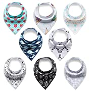 Baby Bandana Drool Bibs, Disbest Hypoallergenic Unisex Teething Bibs Soft Absorbent Cotton Fabric 8 Packs (classic)